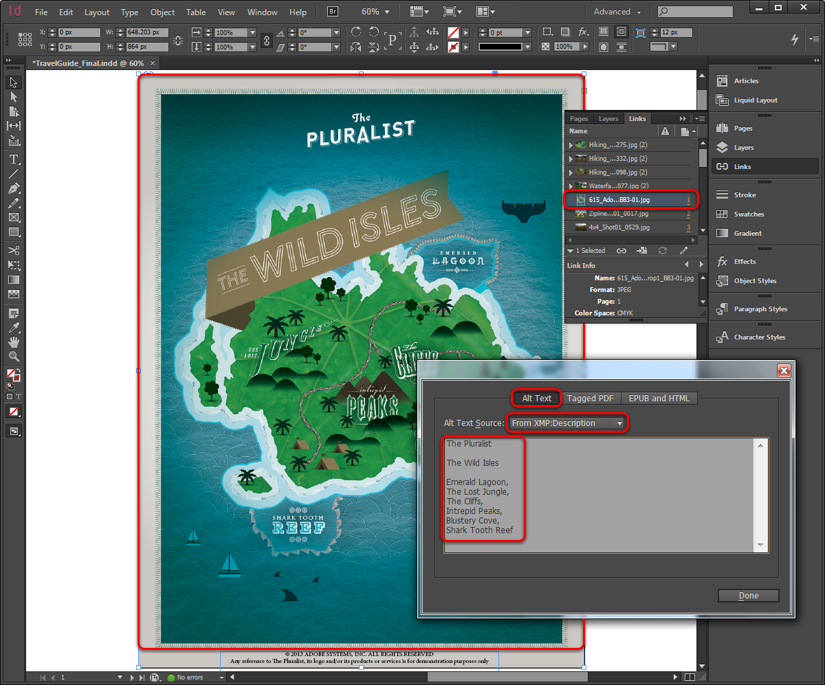 InDesign Links panel