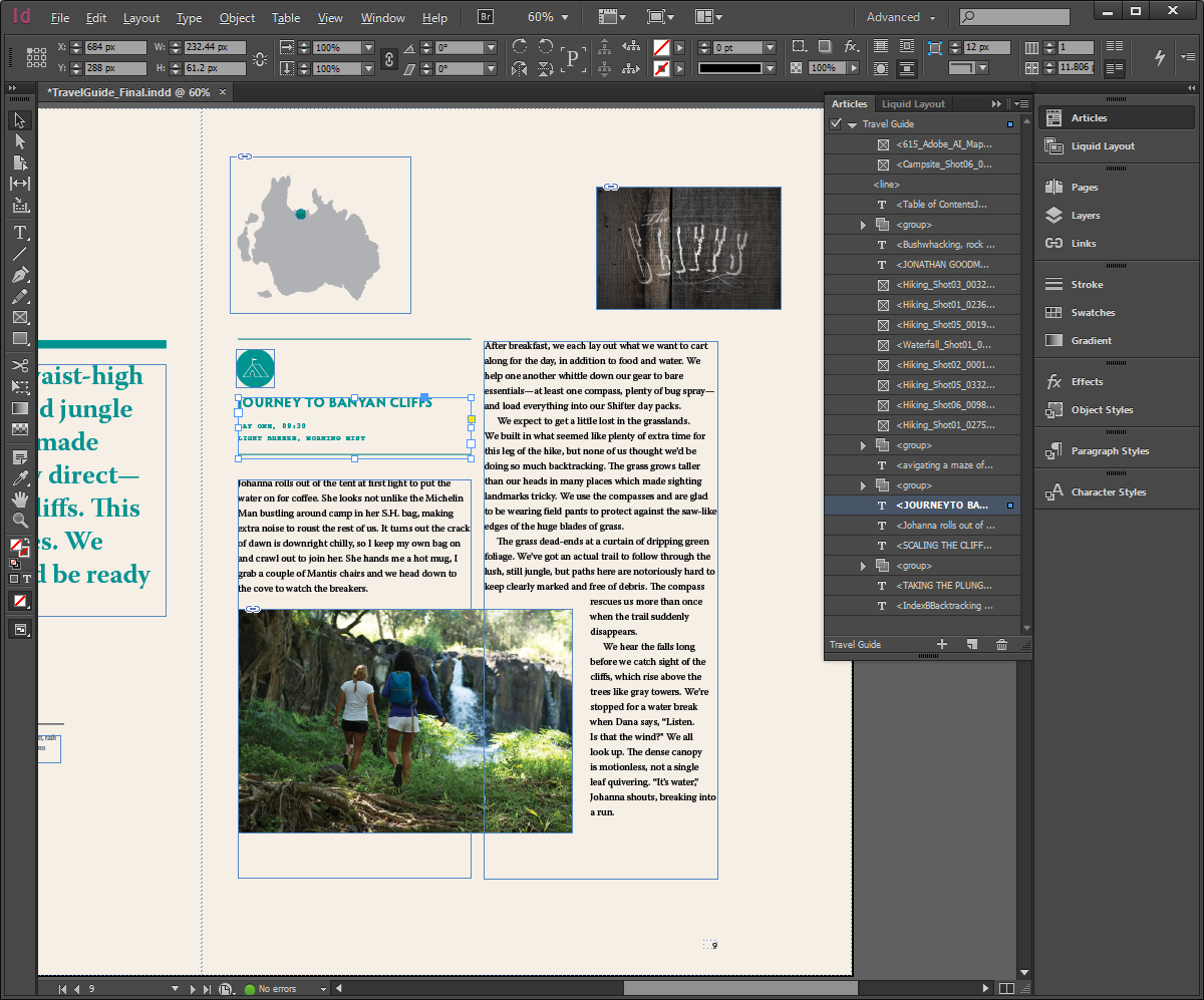InDesign CC showing Articles Panel on an open document