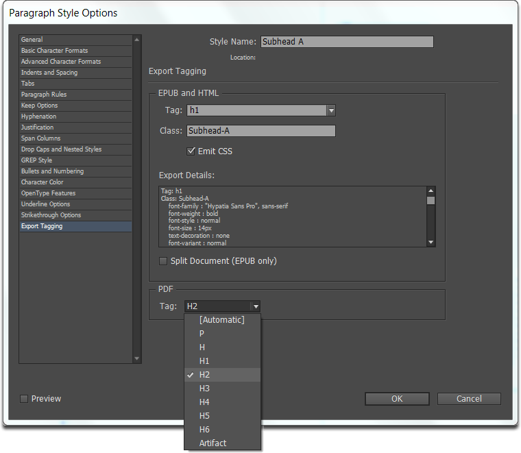 InDesign CC screen capture showing export tagging to H2 from a paragraph style named Subhead A