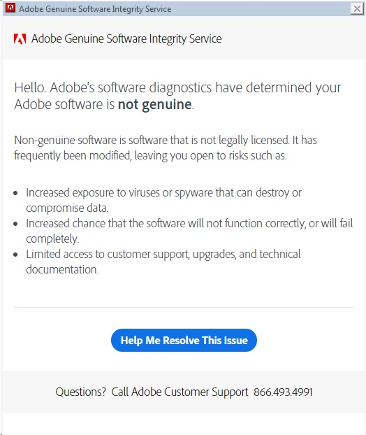 Adobe Genuine Software notification images
